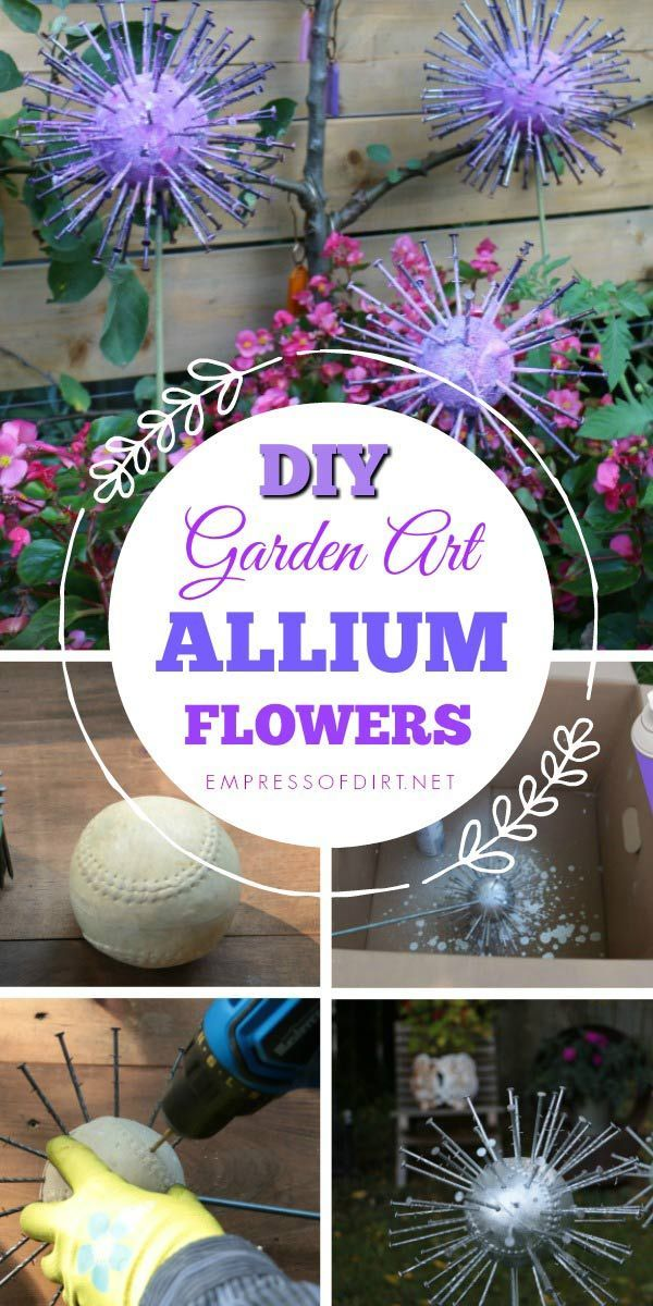 How to Make Giant Garden Art Alliums #diygartenprojekte
