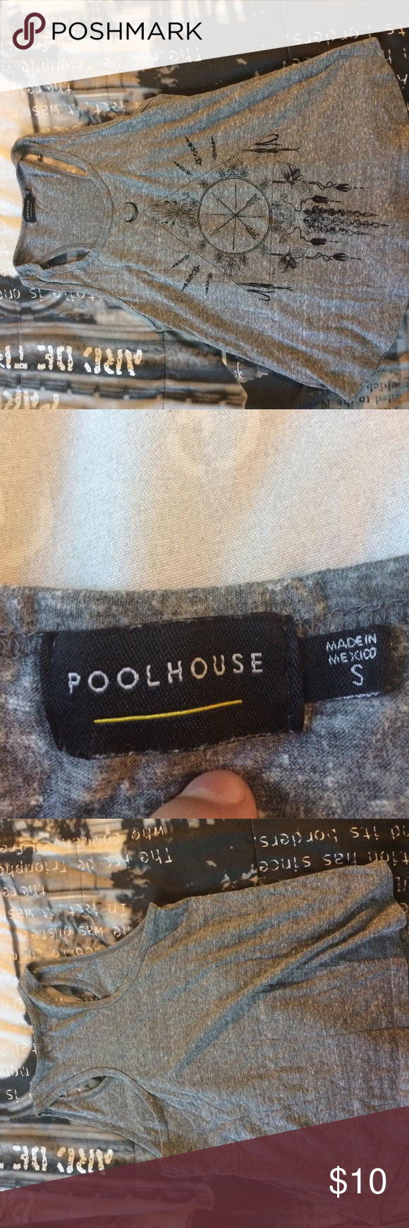Poolhouse tank top Gray and black tank top Tops Tank Tops