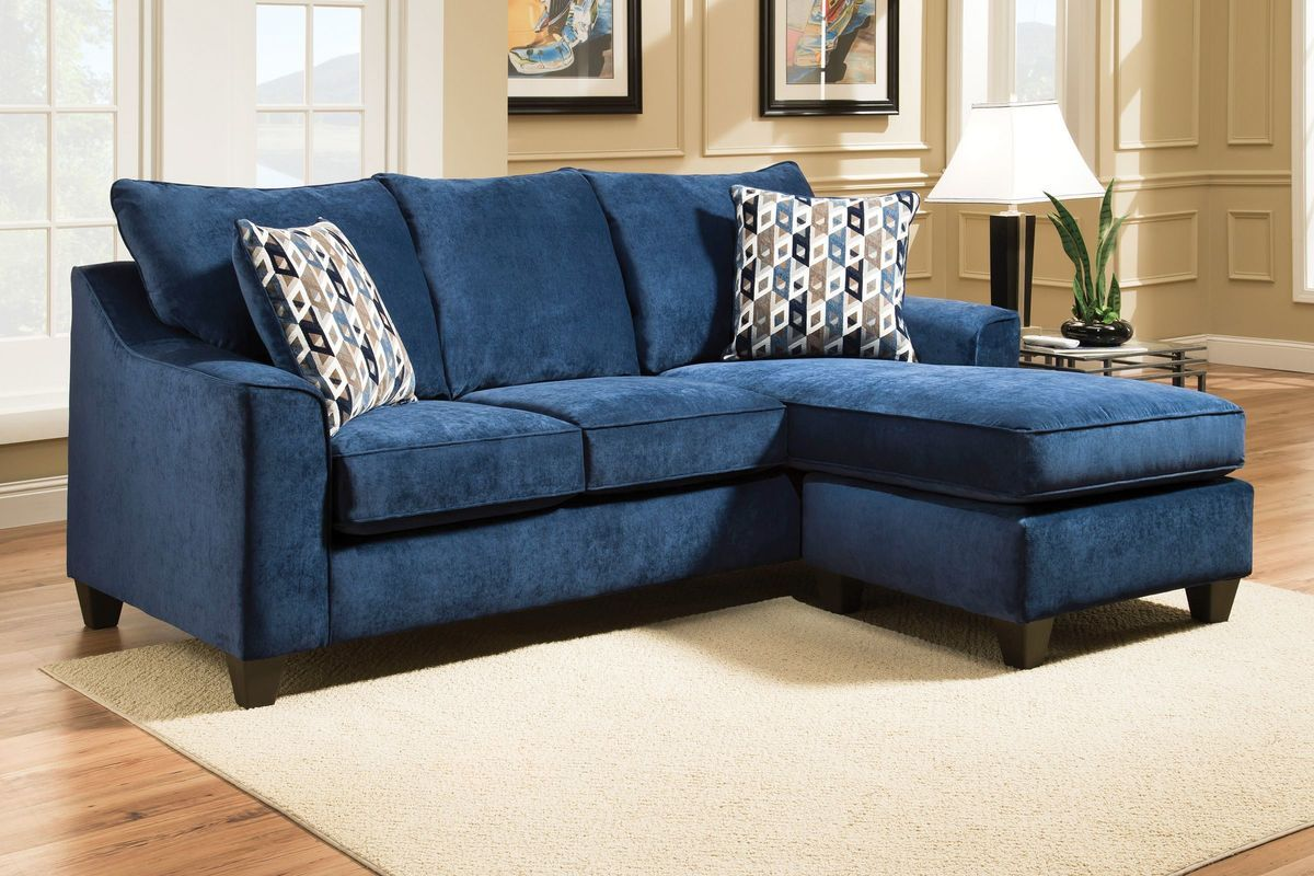 Elizabeth Sofa In Blue With Moveable Chaise Cheap Living Room
