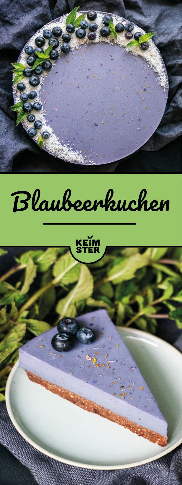 Blaubeerkuchen ohne Backen - vegan und zuckerfrei