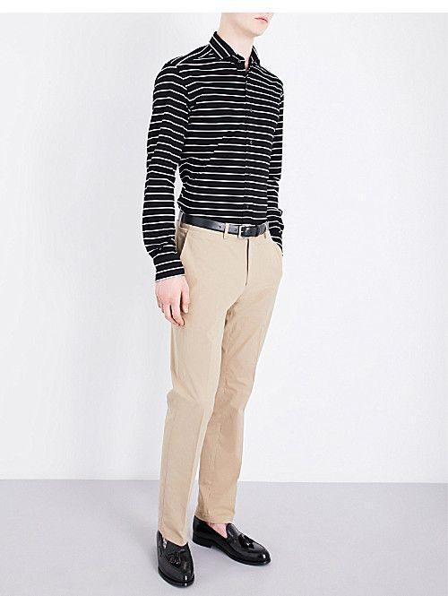 ac67ce4653 RALPH LAUREN PURPLE LABEL Striped tailored-fit cotton shirt | AW18 ...