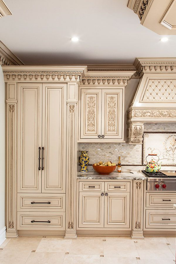 Classic Hand Carved Kitchen Cabinets in Paramus, N