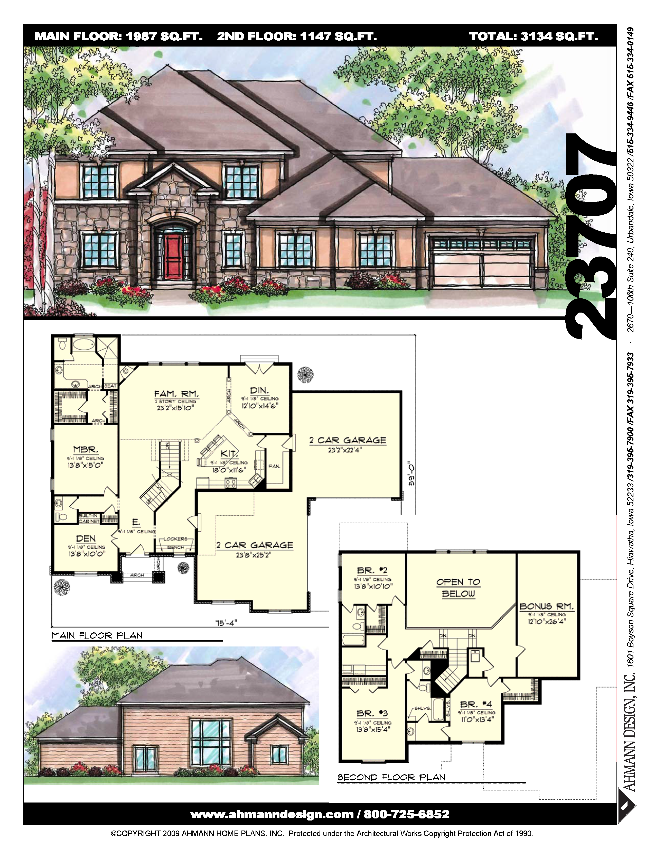 2 story master bedroom  Ahmann Design Plan  This home features open concept living on