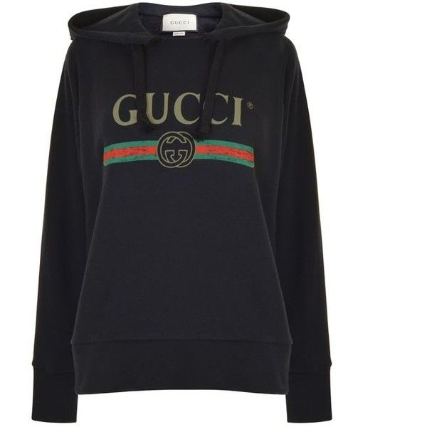 42e9a6cc3 Gucci Embroidered Hooded Sweatshirt ($1,720) ❤ liked on Polyvore featuring  tops, hoodies, black, embroidered top, oversized hoodies, vintage hoodie,  cotton ...