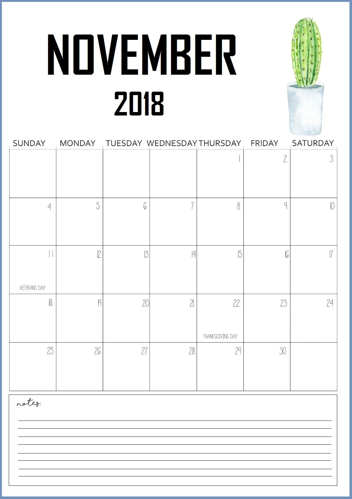 Cute November 2018 Wall Calendar Wall Calendar November
