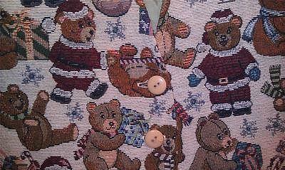 Teddy Bear Vest Ladies Med Holiday Winter Santa Faux Tapestry Jacquard Embroider | eBay