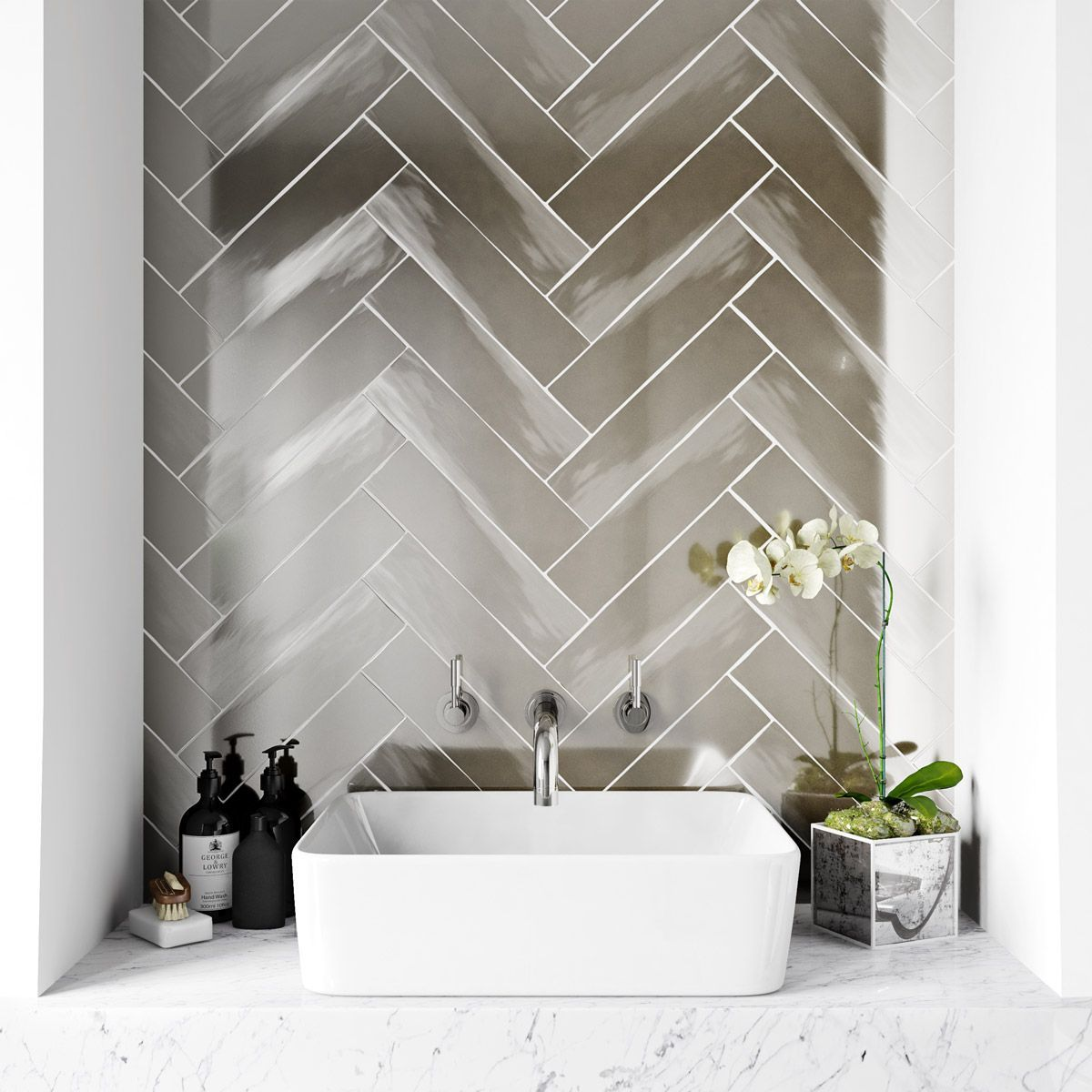 How To Decorate Ceramic Tiles Metallic Wall Tiles Silver Walls