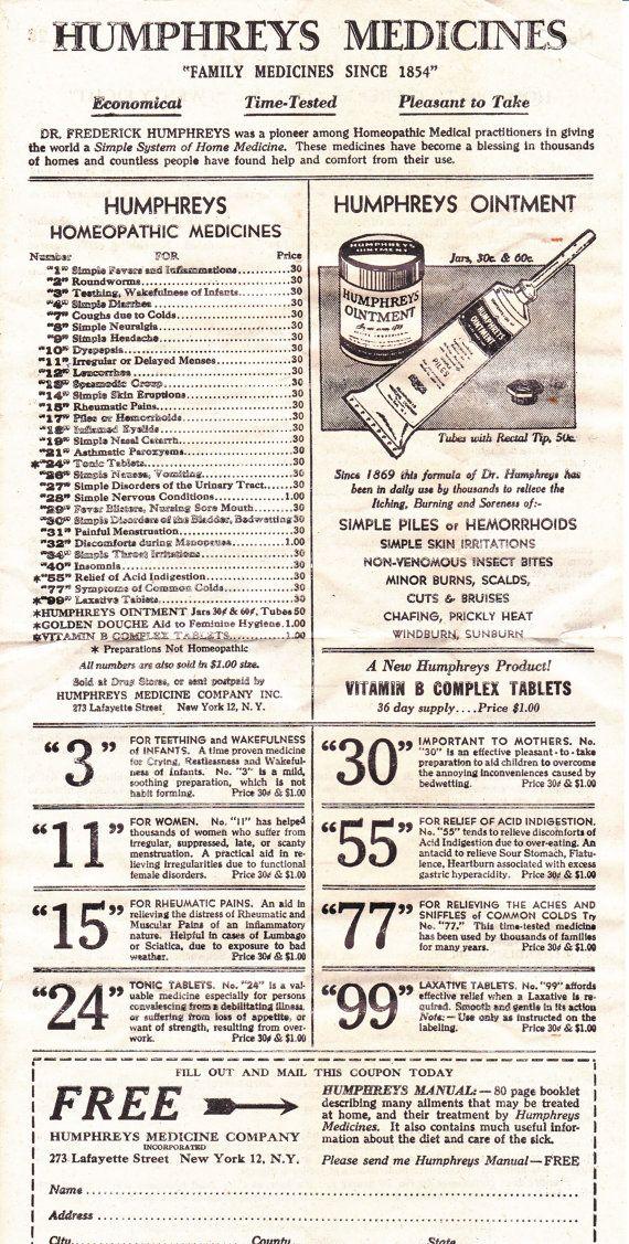 Humphreyu0027s Medicines Order Form, Vintage Paper Ephemera Vintage - paper order form