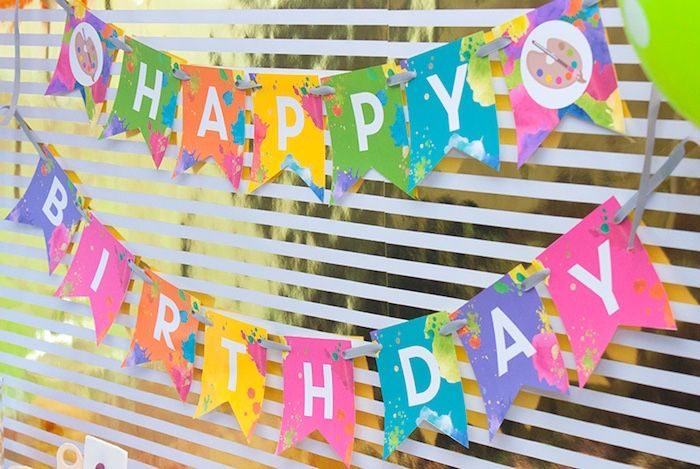 Neon Art Themed Birthday Party Kara S Party Ideas Art Birthday Party Art Birthday Painting Birthday Party