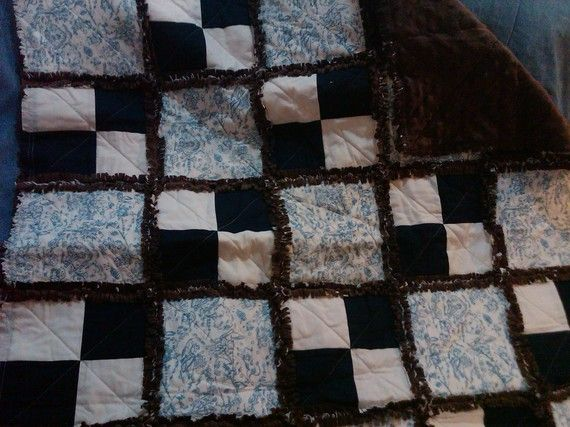 Boys Toile Rag Quilt by 5Beachesgirl on Etsy, $40.00