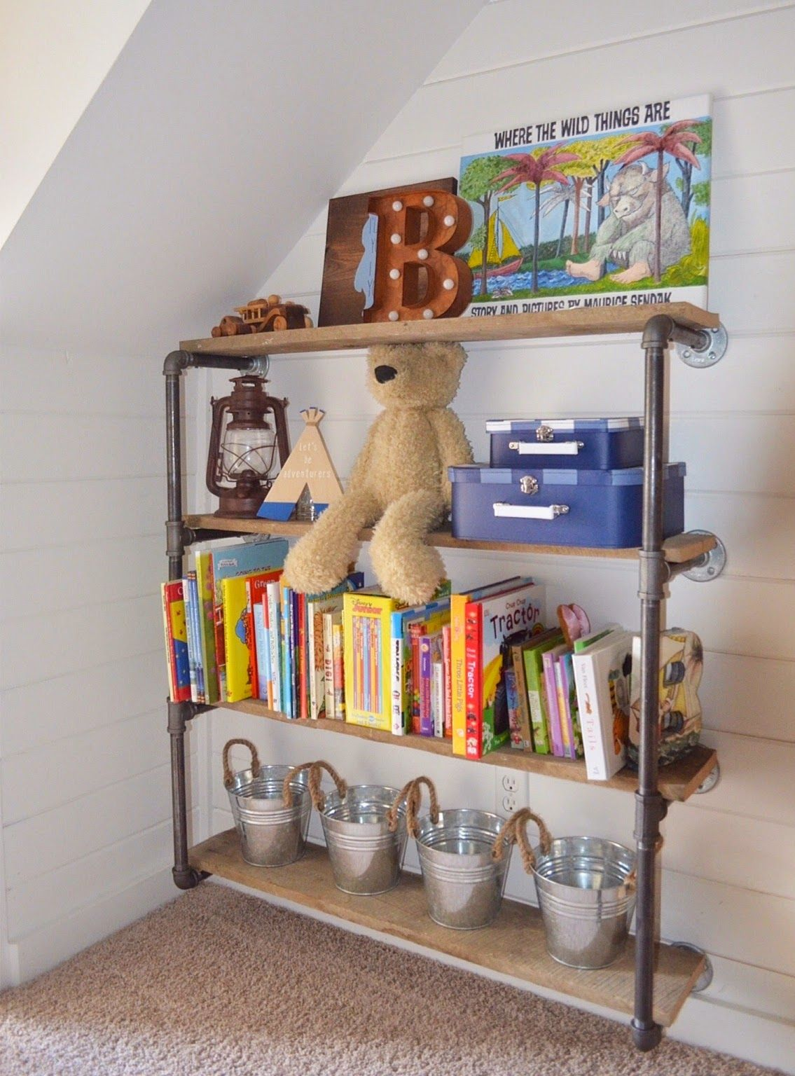 DIY Rustic Industrial Bookshelf In Our Latest Nursery Reveal