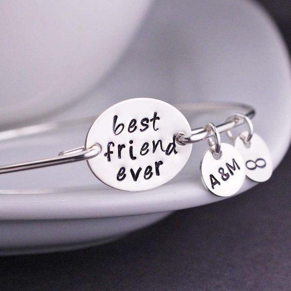 Best Friend Bracelet Personalized Friends Bangle Bff Gift By Georgiedesigns