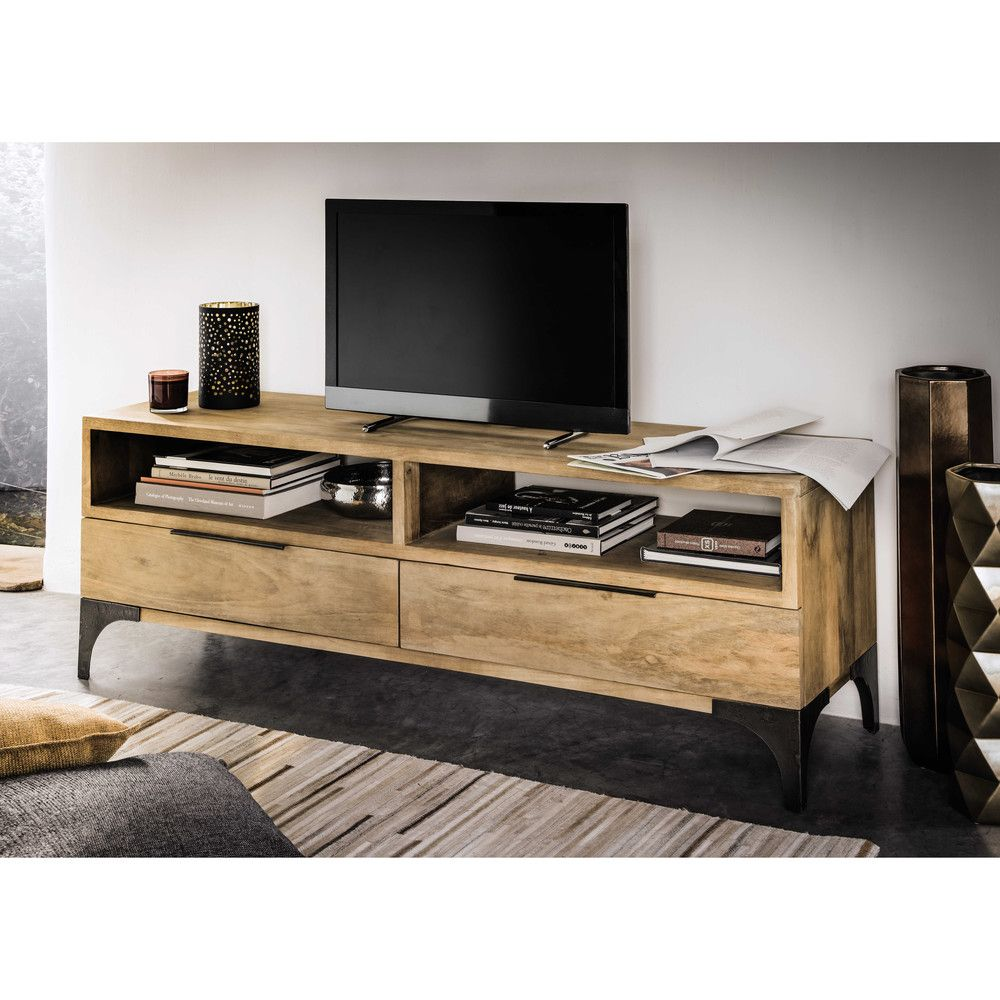 meuble tv en manguier massif l 145 cm salons tv units and living rooms. Black Bedroom Furniture Sets. Home Design Ideas