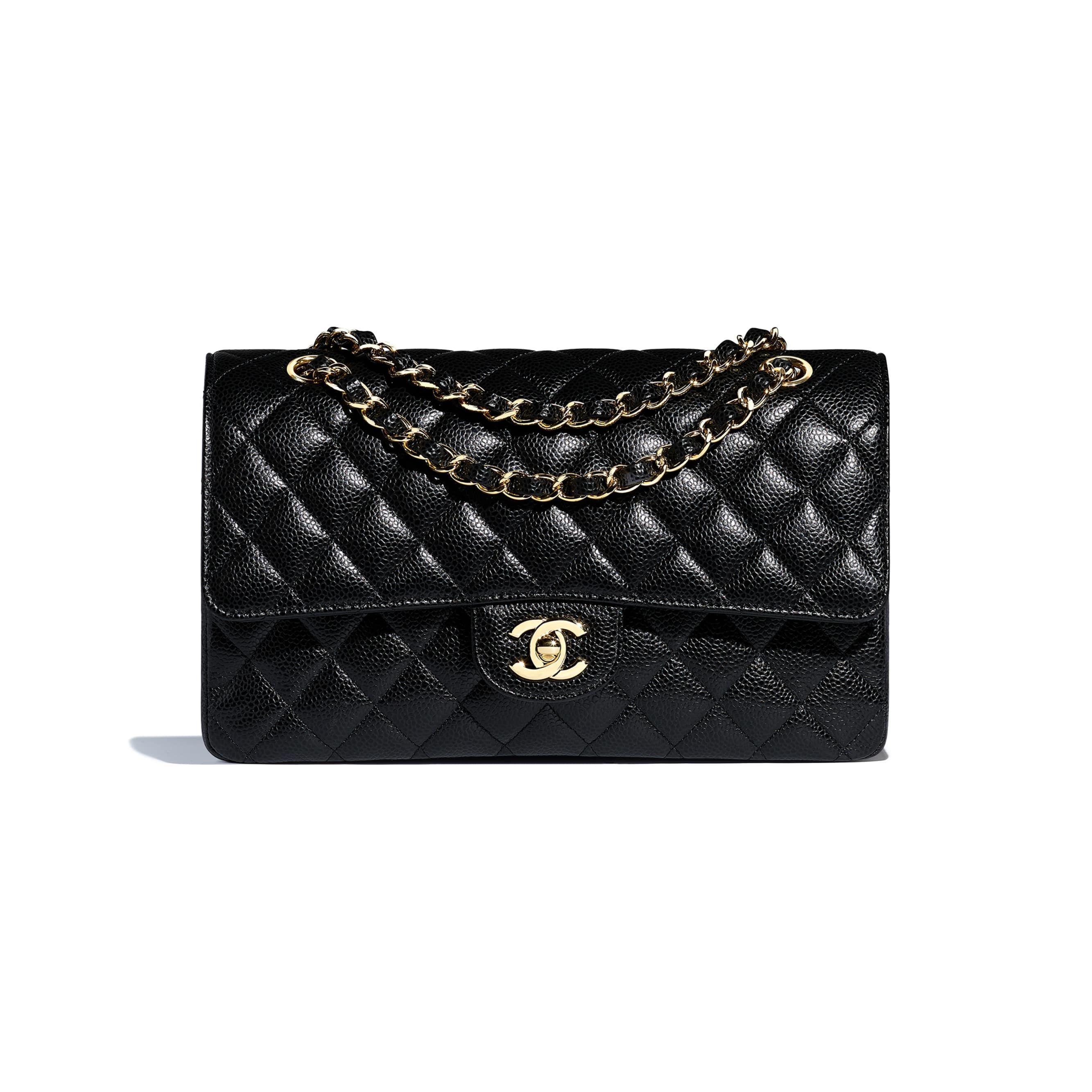 99d34a22f233 Grained Calfskin   Gold-Tone Metal Black Classic Handbag