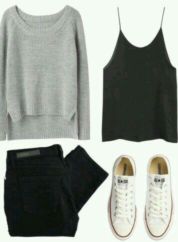 Comodines: pantalon negro, swetter  melange y converse blancas!