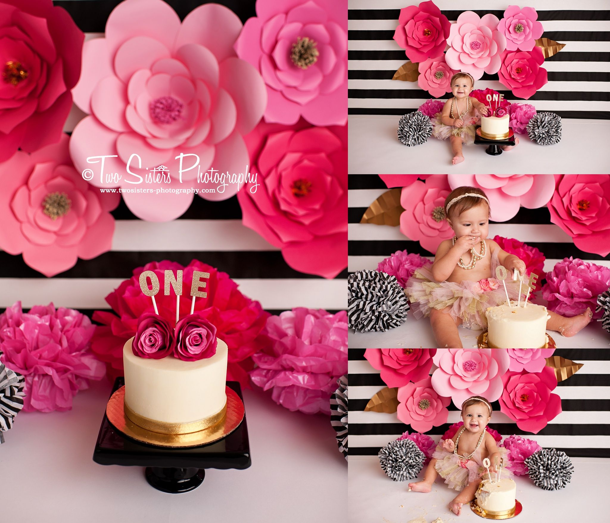 Two Sisters Photography Cake Smash Sessions Pink Floral Cake Smash Pink And Black Black And Whit Birthday Cake Smash Smash Cake Girl Smash Cake Photoshoot