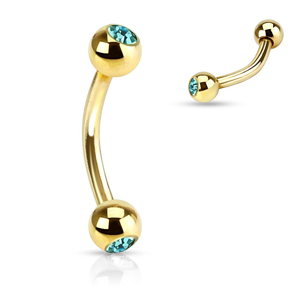 Double Cz Gold Ip Curved Barbell Eyebrow Rings Eyebrow Ring Gold