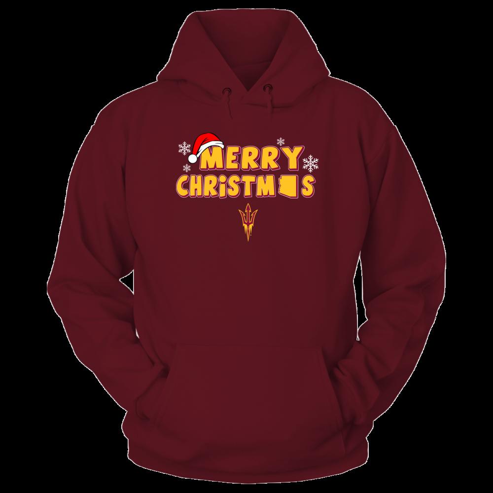 Arizona State Sun Devils Merry Christmas Logo Hoodies