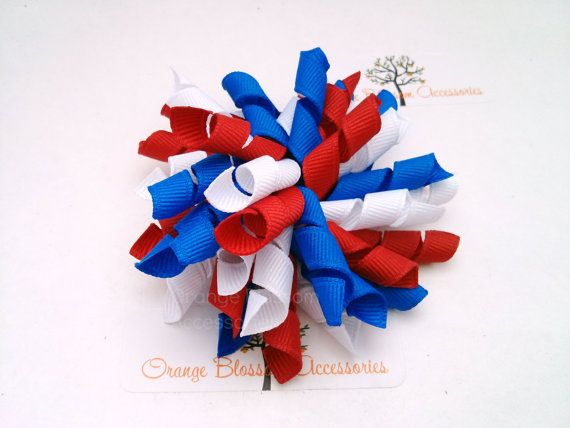 Curly Korker Bow Hair Clip- Red, White and Blue Patriotic