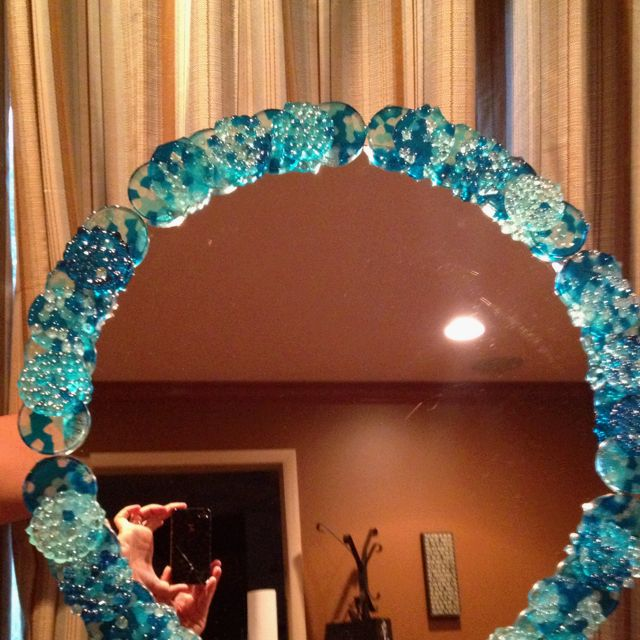 Diy Melted Bead Mirror Frame Beaded Mirror Pony Bead Crafts