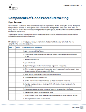 Avid Components Of Good Writing Procedure Procedural Writing Writing Avid