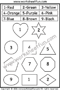 Color by Number – Shapes – Heart, Star, circle, Square, Triangle