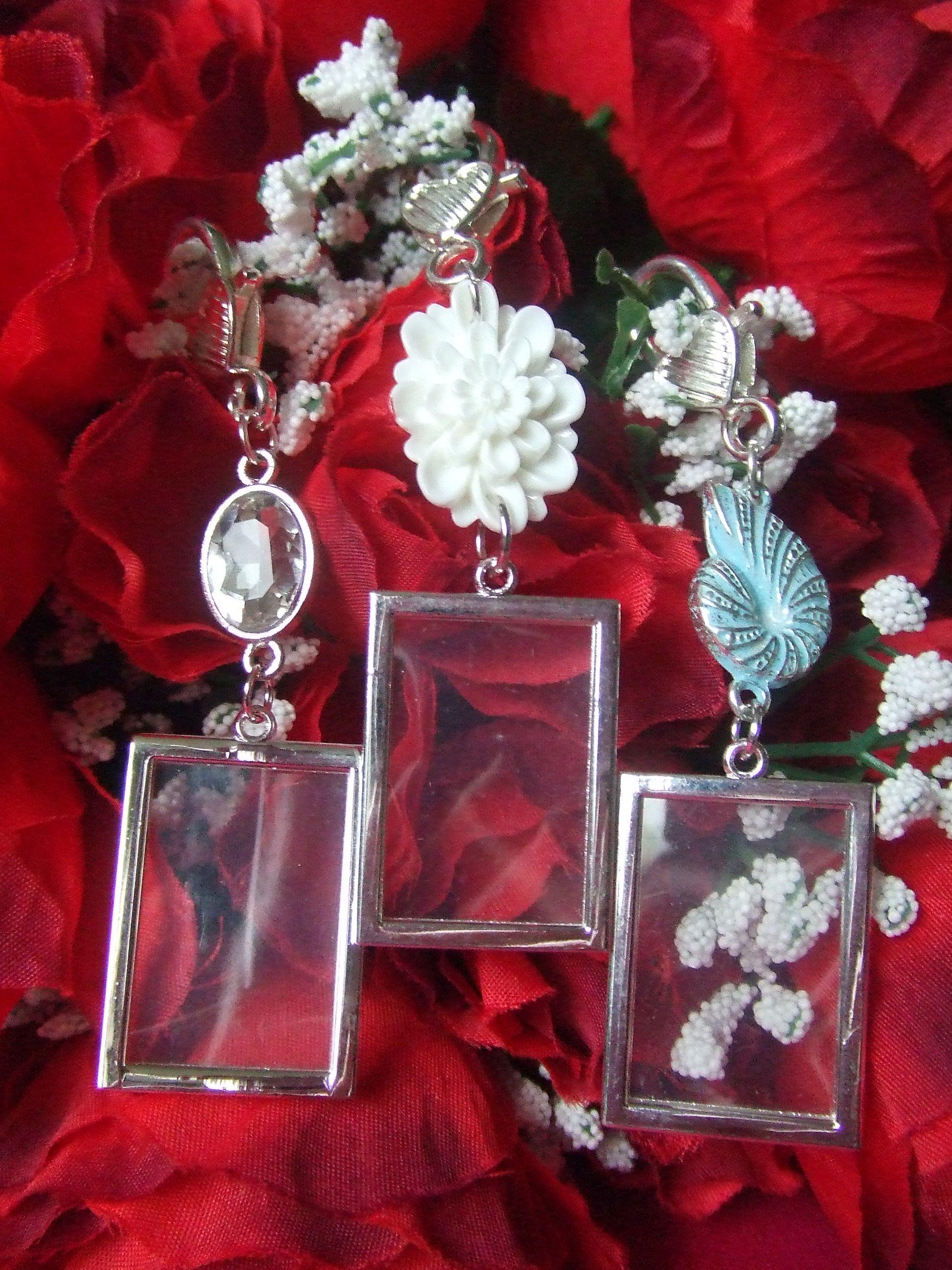 Wedding Bride Bouquet Memory Photo Frame Charm, Crystal/Rhinestone ...