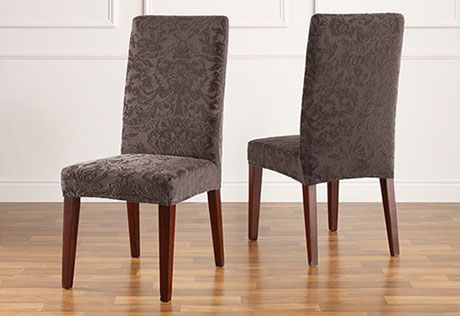 Stretch Jacquard Damask Short Dining Chair Slipcover ...