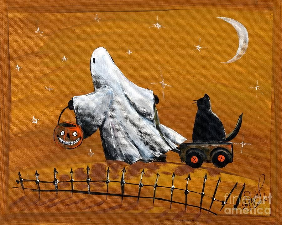 Halloween Ghost With Black Cat by Sylvia Pimental
