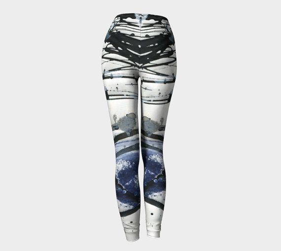 Leggings, black,white, and blue, workout apparel, exercise, women's leggings, gifts for her, digital, artist designed, abstract, fashion #etsy