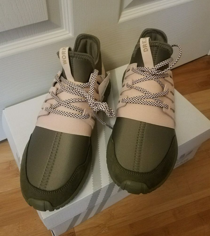 New Womens Adidas mi Tubular Radial Custom olive and blush pink Size 9