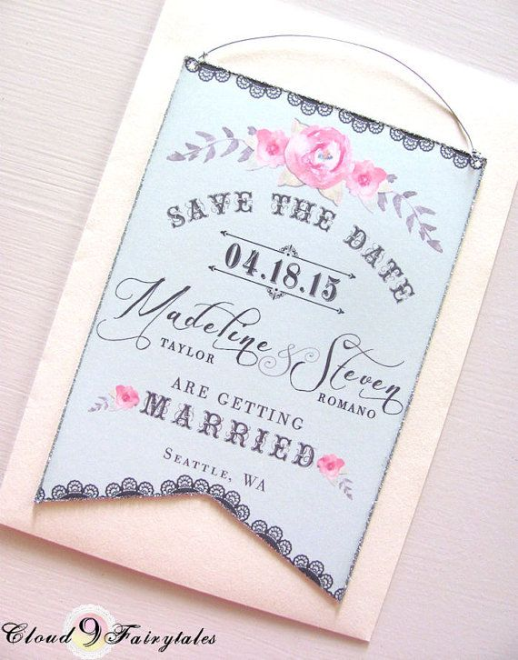 Couture Save The Date Cards Hanging Banner Original Design Wedding Invitation Announcement Blue Gray Pink Silver Glitter Edges On Etsy 3 00
