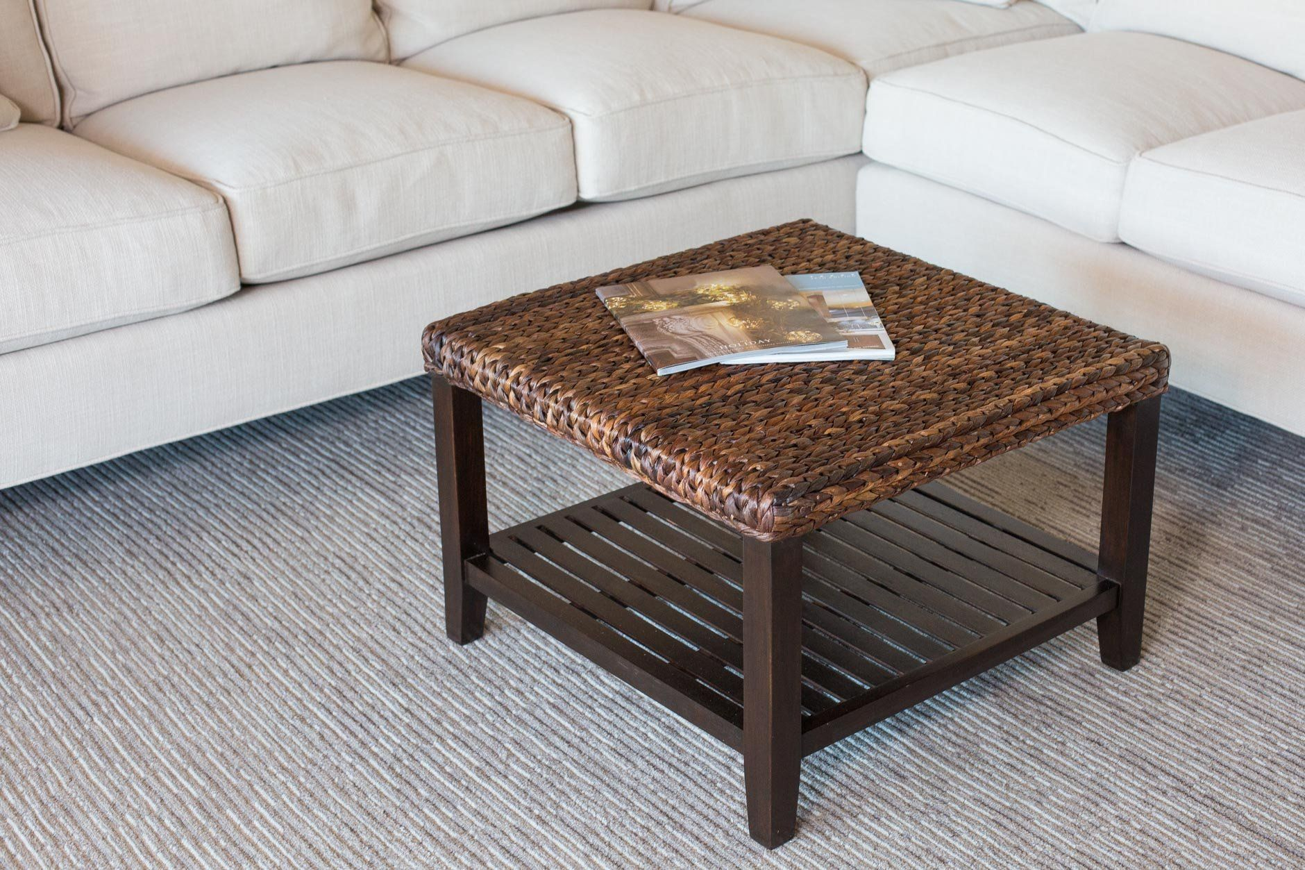 Birdrock Home Woven Seagrass Coffee Table Mahogany Wood Frame Fully Assembled Want Addition Wicker Coffee Table Coffee Table Coastal Living Room Furniture [ 1253 x 1880 Pixel ]