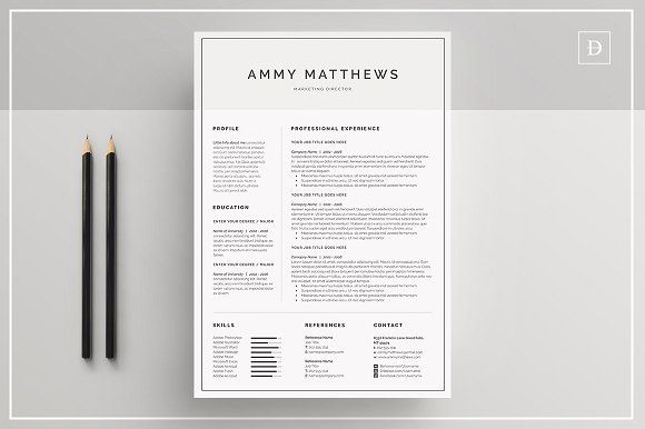 Word Resume \ Cover Letter Template by DemeDev on @creativemarket - resume cover letter templates word