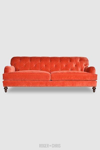 Alfie Tufted English Roll Arm Sofa In Como Shrimp Velvet Fabric