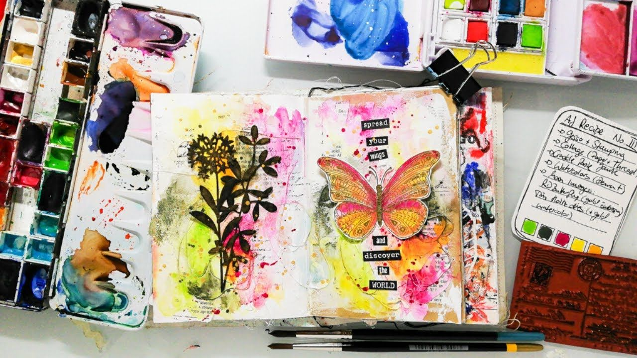 Mixed Media Art Journal Page with a textured background (How to overcome... #artjournalmixedmediainspiration