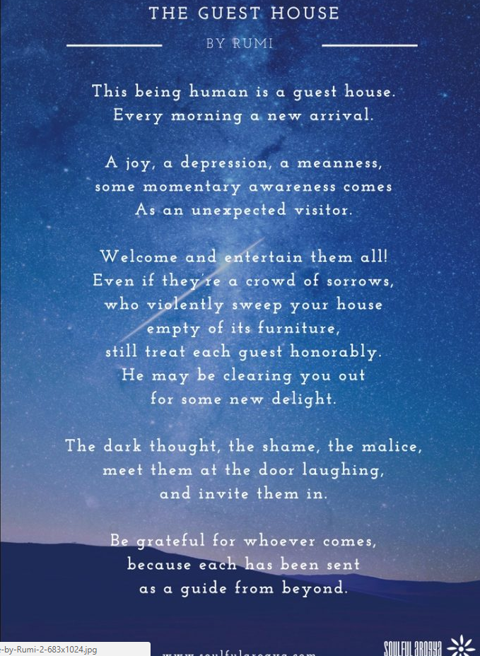 The Guest House A Poem By Rumi Rumi Poem Compassion Poems Rumi