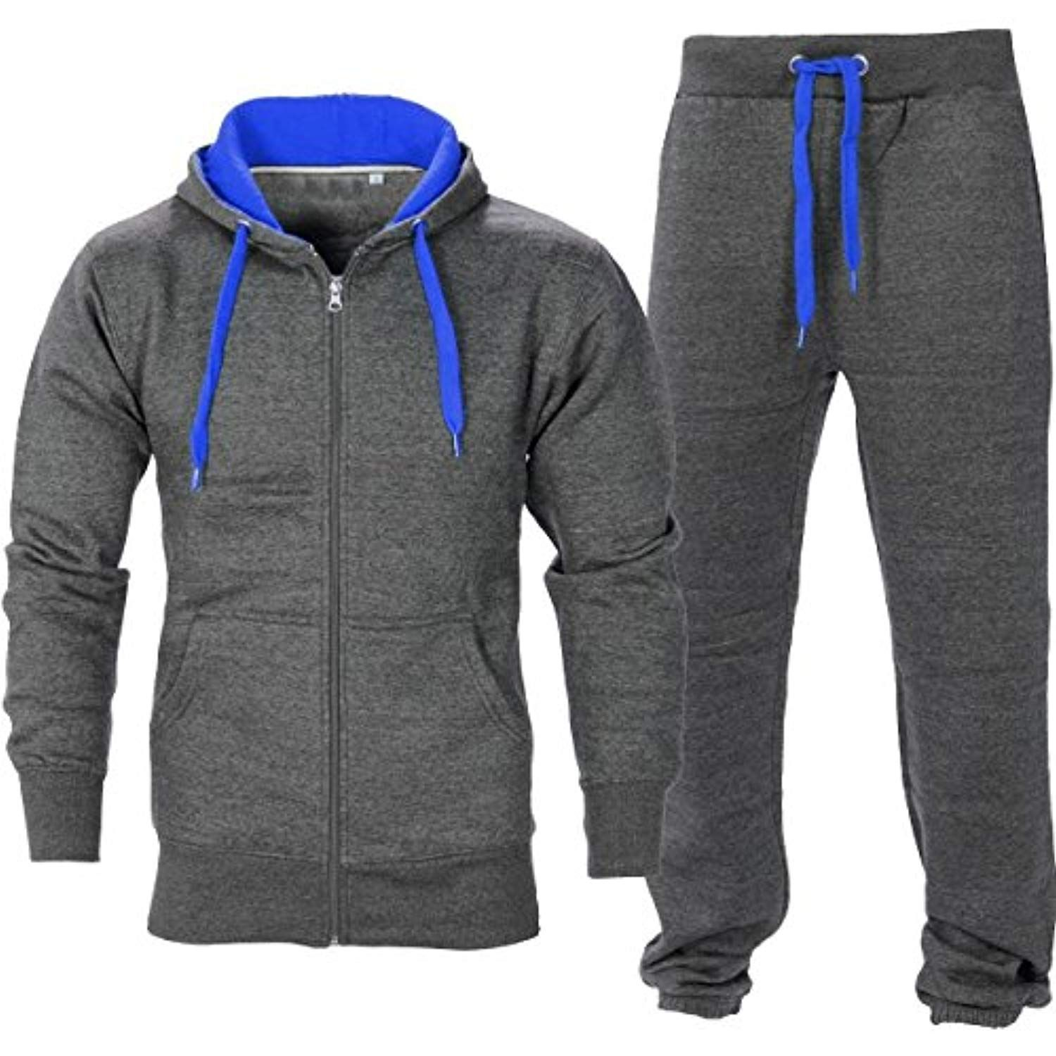Mens Tracksuit Zip Hooded Top Gym Blue Contrast Jogging Set Fleece Bottoms S-5xl Clothing, Shoes & Accessories