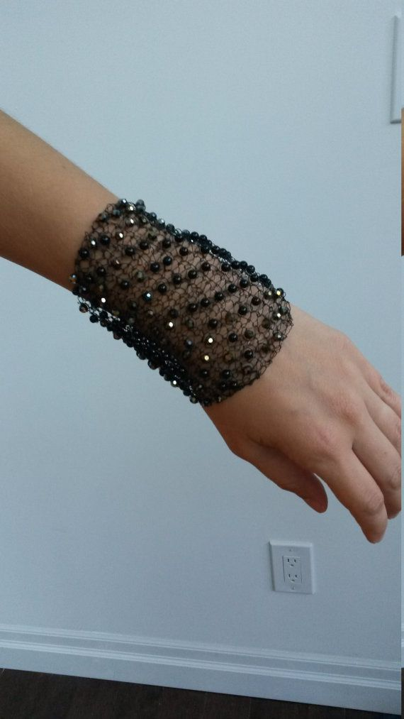 Black Wire Knitted Crochet Bracelet Wire Jewelry Hand knitted Cuff ...