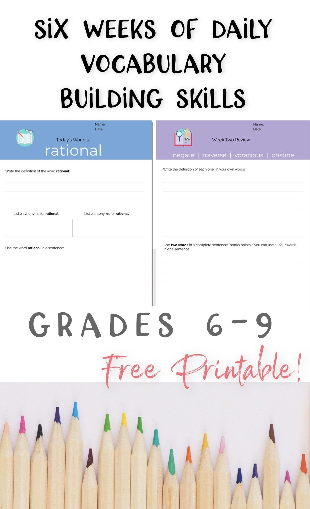 Free Daily Vocabulary Building Skills Printable