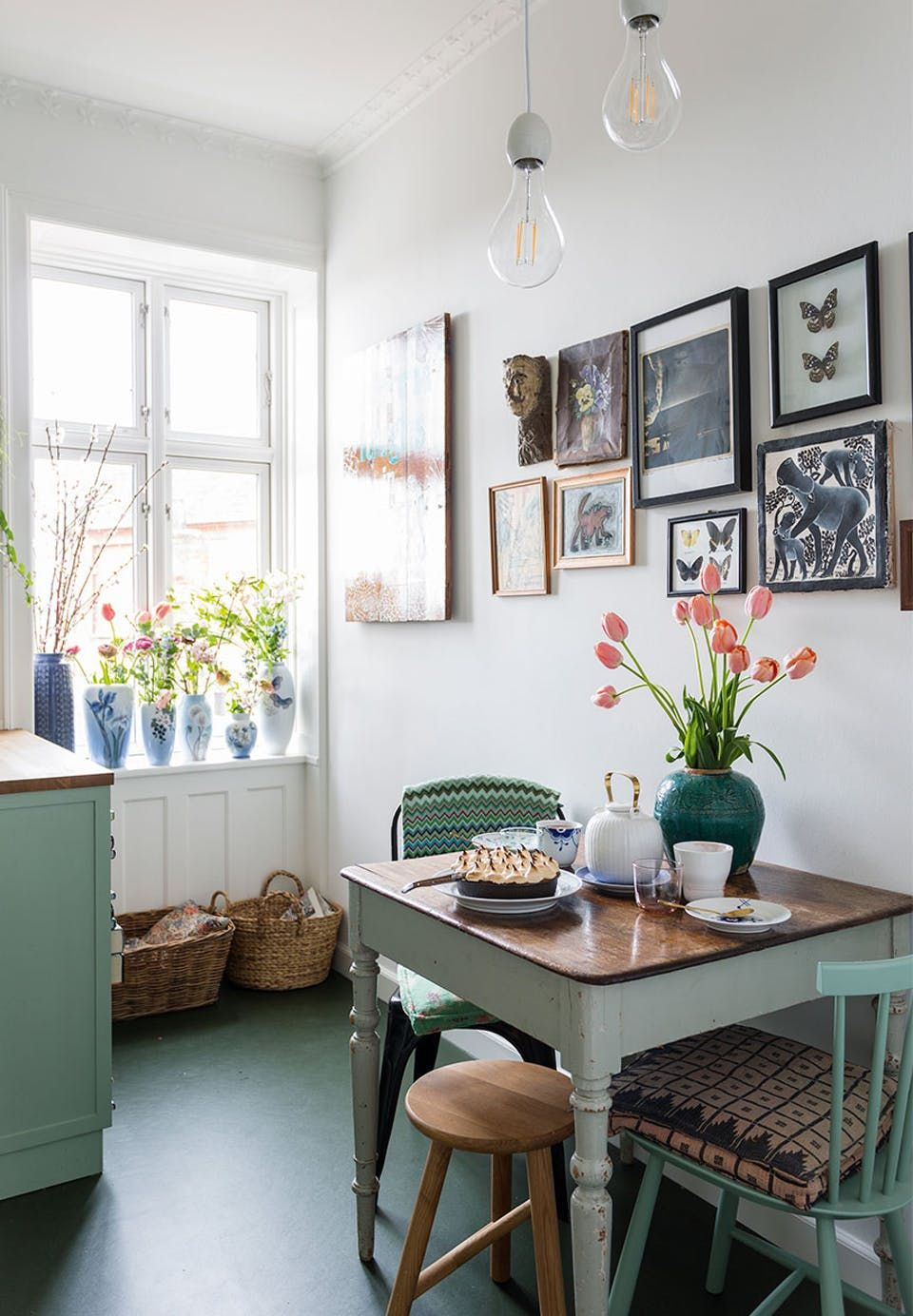 Dining corner in the kitchen with a small dining table and older ...