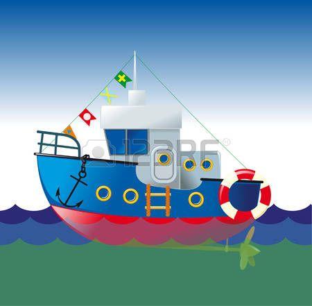 Barcos infantiles dibujo c mico de un barco que navega - Imagenes de barcos infantiles ...