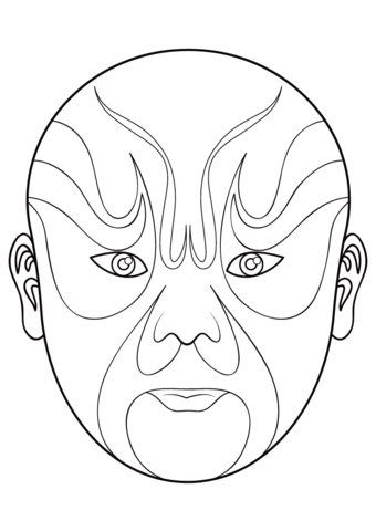 Chinese Opera Mask 5 coloring page from Masks category. Select from ...