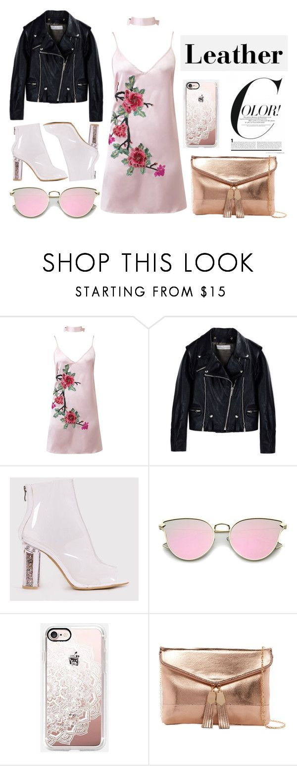 """""""Leather jacket"""" by dakota4-1 ❤ liked on Polyvore featuring WithChic, Golden Goose, Casetify and Urban Expressions"""