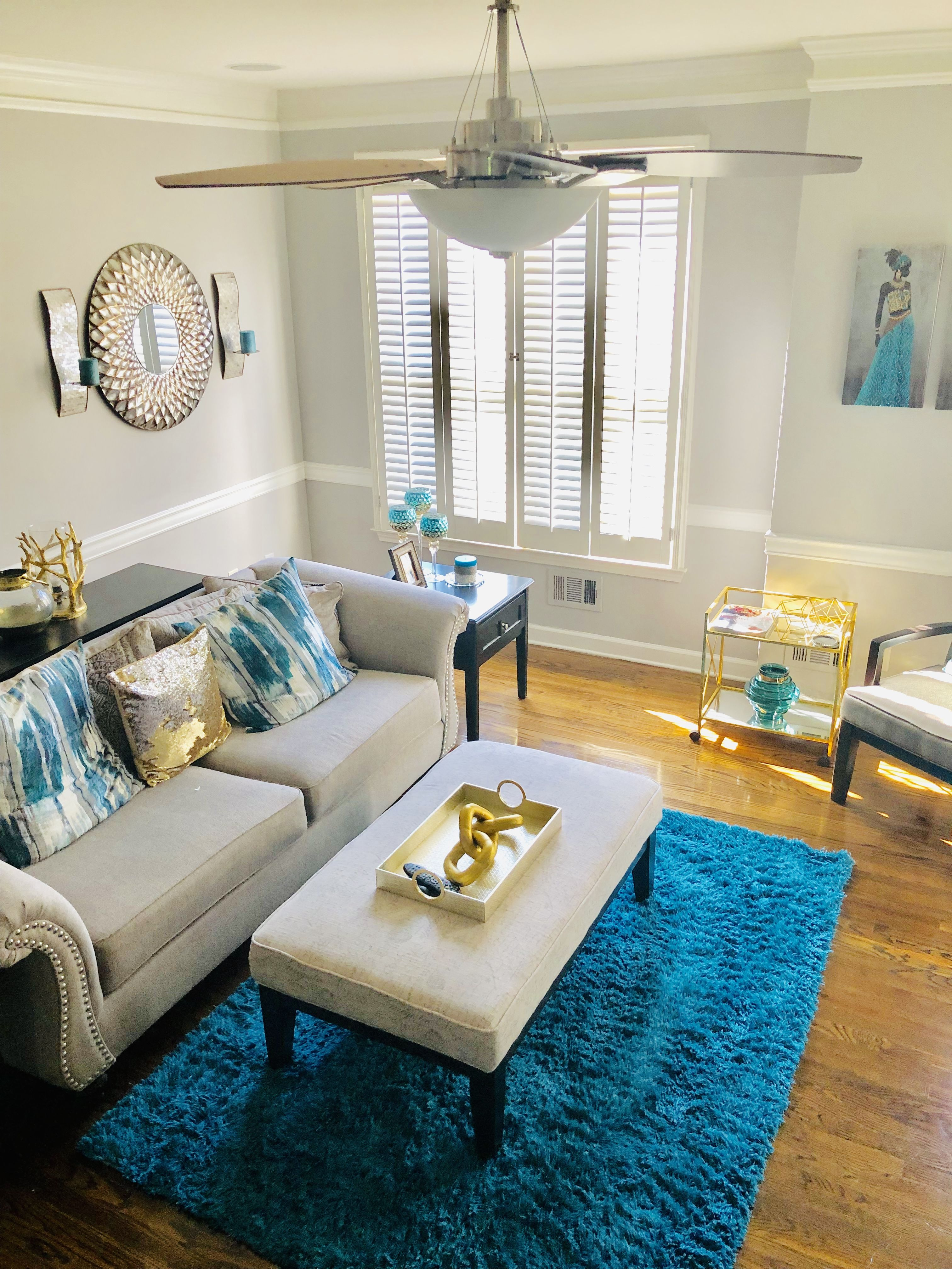 Teal and gray living room with accents of gold | Living ...