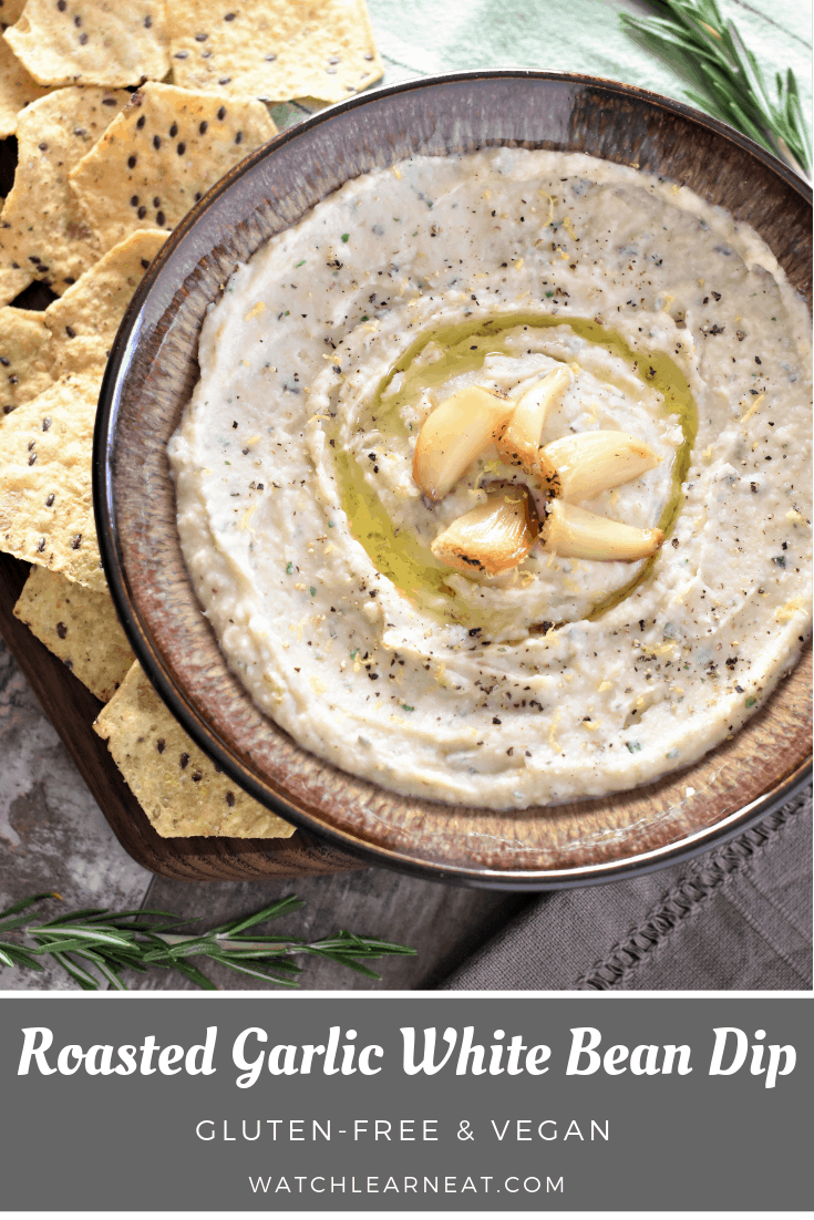 This smooth and creamy vegan Roasted Garlic White Bean Dip pairs perfectly with tortilla chips, cra