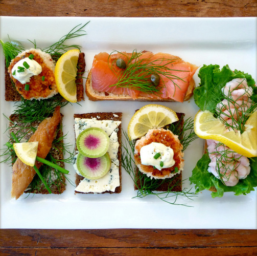 Smorrebrod, the Danish open faced sandwich. Stieg Larsson would approve.