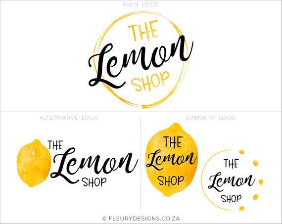 Lemon Logo Premade Branding Kit Watercolor Logo Fruit Logo