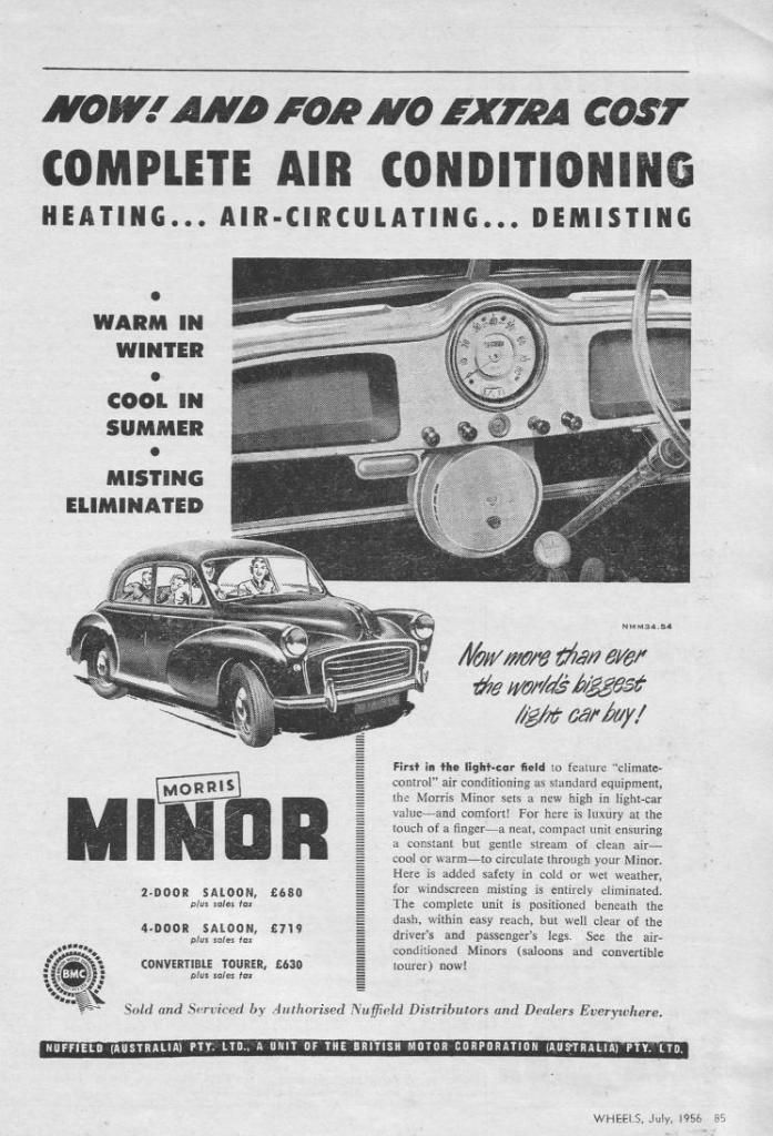 1956 ad for Morry airconditioning Morris, Morris minor