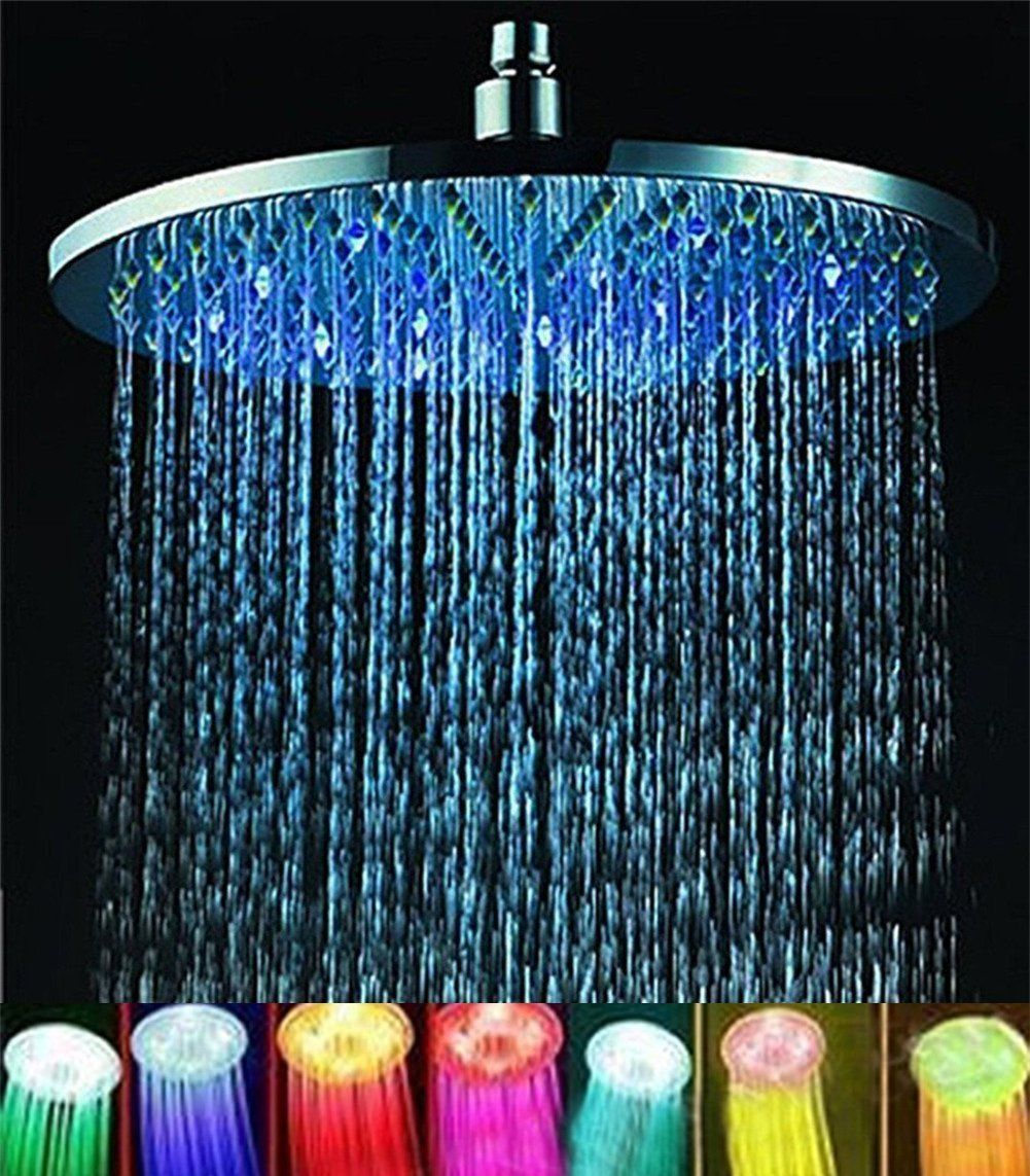 7 Colors 8 Rainfall Round Bathroom Shower Head Rgb Led Flash Light In 2020 Led Shower Head Shower Heads Best Rain Shower Head